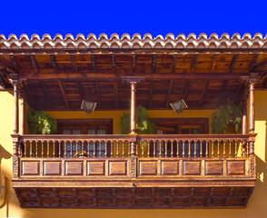spain, canary islands, tenerife : la orotava, wood balcony