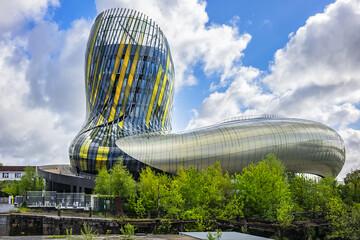 La Cite du Vin (Wine Cultures and Civilizations Museum, 2016) - tourist attraction in Bordeaux, boasting cavernous exhibition halls and 55-metre-high viewing tower. BORDEAUX, FRANCE. April 14, 2019.