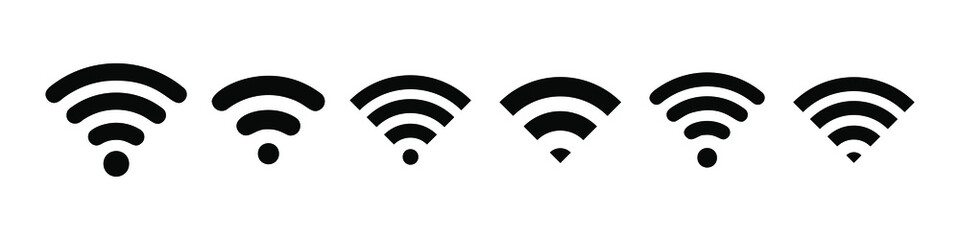 Wireless and wifi icon. Wi-fi signal symbol. Internet Connection. Remote internet access collection - stock vector.