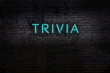 Neon sign. Word trivia against brick wall. Night view