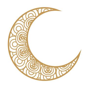 crescent moon golden on white background vector illustration design