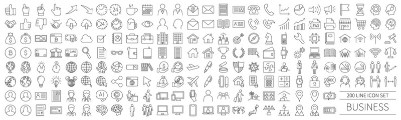 200 line icon set related to business