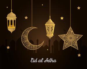 eid al adha mubarak, happy sacrifice feast, lanterns with moon and star hanging vector illustration design