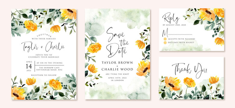 wedding invitation set with yellow green flower garden watercolor