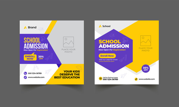 School education admission social media post & back to school web banner template