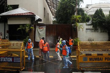 Residence of Bollywood actor Amitabh Bachchan after he and son actor Abhishek Bachchan tests positive for coronavirus disease (CIVID-19) in Mumbai