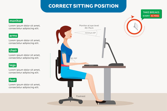 Ergonomics correct sitting posture for office workers, woman at work.