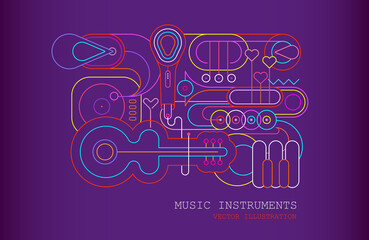 Neon colors on a gradient violet background Music Instrument Line Art Silhouettes vector illustration. Outline images of guitar, saxophone, piano keyboard, trumpet, trombone, microphone and gramophone