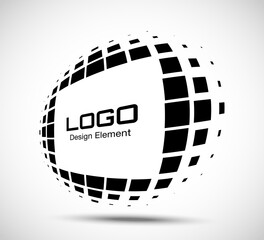 Wall Mural - Logo perspective frame. Abstract rectangle dots emblem design element for technology. Distort border Icon using halftone rectangle dots raster texture. Vector.