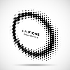 Wall Mural - Halftone circle perspective frame abstract dots logo emblem design element for technology, medical, treatment, cosmetic. Round border Icon using halftone circle dots raster texture. Vector.