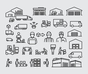Fototapeta Warehouse logistics buildings, delivery cargo trucks, forklifts and workers vector line icons set obraz