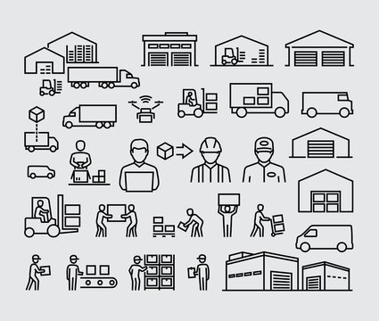 Warehouse logistics buildings, delivery cargo trucks, forklifts and workers vector line icons set