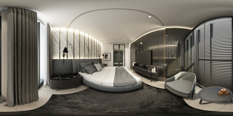 Apartment bedroom in modern luxury style interior design Full spherical 360 degrees view panorama 3d rendering