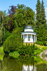Picturesque small lake in front of the Castle Wilhelmshoehe Kassel, Hesse, Germany