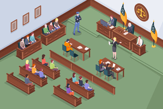 Court hearing at courtroom, judge and justice jury at trial process, vector isometric illustration. Judge, prosecutor and advocate lawyer with accused at court hearing, courthouse justice lawsuit