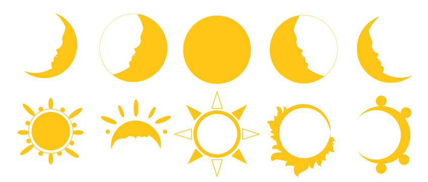yellow moon and sun icons