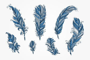 Vector Set of Ethnic feather. Hand Drawn Tribal Feathers. Decorative feathers. Vintage blue Feather.