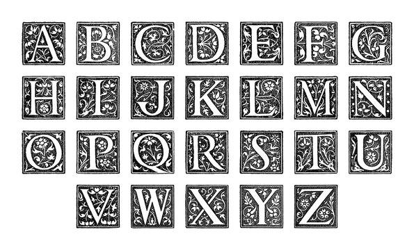 Old alphabet - decorative ornamental capital letters - vintage vector illustration from Petit Larousse Illustré 1914