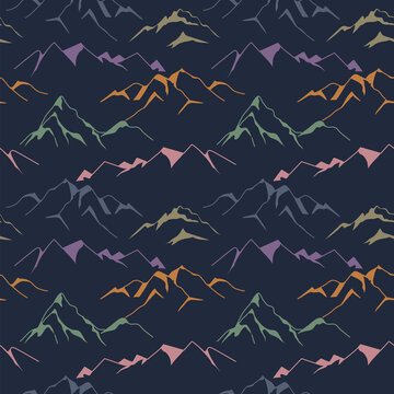 Mountain seamless pattern at night in retro colors