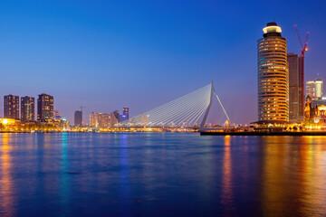 Rotterdam City Skyline Evening River View In Netherlands