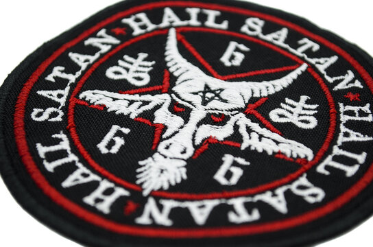 The embroidered patch. Attributes for bikers, rockers and metalheads. Baphomet, inverted pentagram, alchemical symbol Sulfur Alchemical cross, Leviathan.