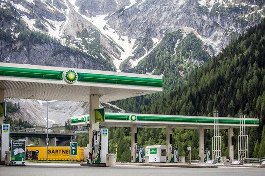 FLACHAU, AUSTRIA - May 10, 2018: BP British Petroleum gas station at the A10 Restitution Tauernalm, Austria.