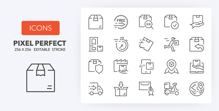 shipping and delivery line icons 256 x 256