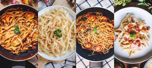 Food Banner. Italian food, mixed pasta