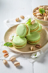 Sweet pistachio macaroons as a tasty dessert