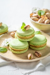 Delicious pistachio macaroons as a tasty dessert
