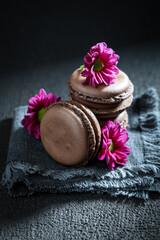 Closeup of chocolate macaroons made of dark cocoa