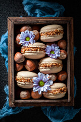 Yummy hazelnut macaroons as a sweet small snack