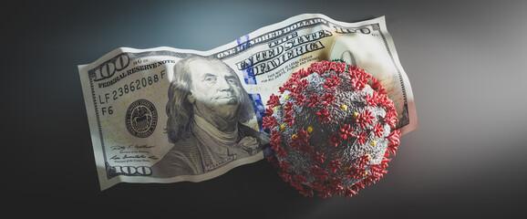 Coronavirus Covid19 on crumpled one hundred dollar bill. Fotomurales