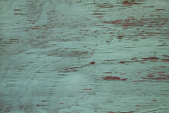 Real backrounds: wood boards painted with teal paint, old, cracked