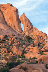 Granite needle and rock formation resembling baboon face at Spitzkoppe