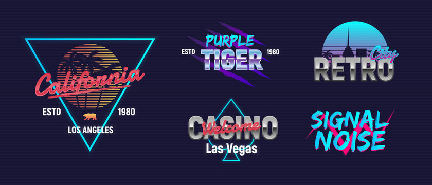 Vector retro neon logo set. Neon logo designs. 5 retro 80's logos set. Retro prints for T-shirt, typography.