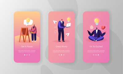 Inspiration Mobile App Page Onboard Screen Template. Male and Female Characters Search Creative Idea, Meditating, Painting on Easel and Working on Laptop. Concept. Cartoon People Vector Illustration