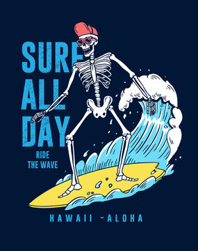 The Surfer skeleton illustration the with big wave. For t-shirt print and other uses.