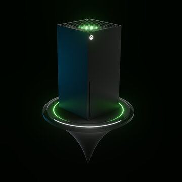 Wrocław,Poland - July 12 2020: Xbox Series X home video game console by Microsoft. 3d render koncept model. Copy space