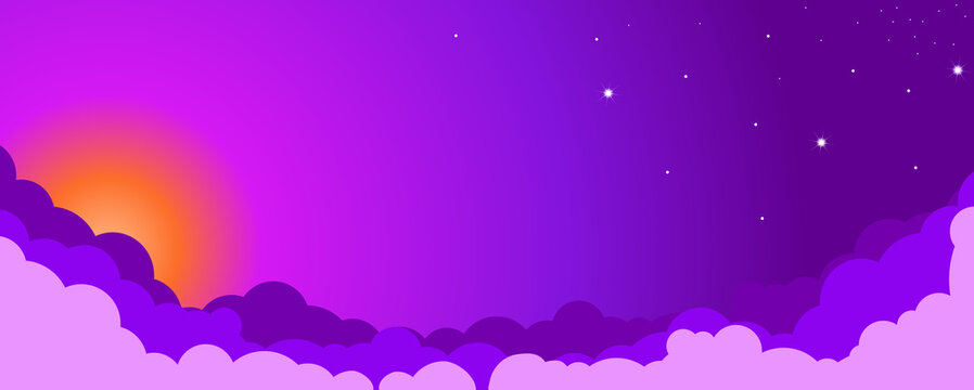 Sky color clouds landscape background design. Purple sunset. Illustration, vector