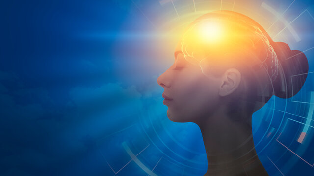 Profile Female Portrait With Illuminated Brain Over Blue Background, Collage
