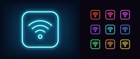 Fototapeta Neon wifi icon. Glowing neon wi fi sign obraz