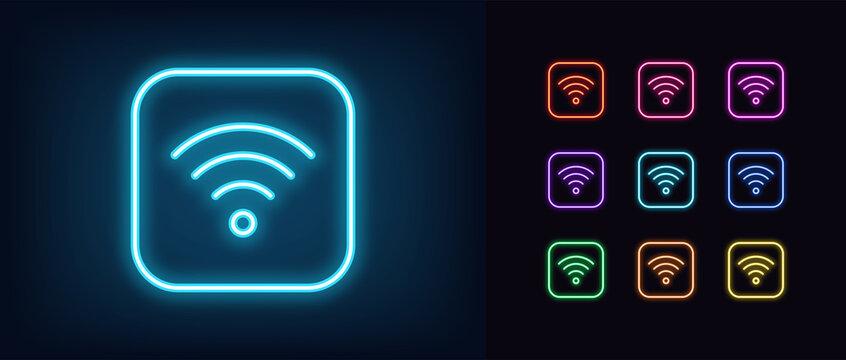 Neon wifi icon. Glowing neon wi fi sign