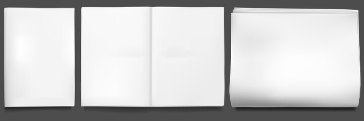 Newspaper mockup. Blank sheet of tabloid newsprint magazine folded in half. Paper realistic front and facing pages, open empty template. Daily press or mass media concept. Journal vector illustration