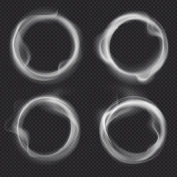 Smoke rings. Abstract realistic vape round symbol. Steam frame after cigarette, pipe or hookah smoking. Puffing, realistic fog flowing in round border isolated on transparent background