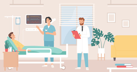 Hospital room. Patient in bed hospital ward, doctor and nurse provide medical care, intensive therapy, healthcare flat vector concept. Man character lying in bed with dropper having treatment