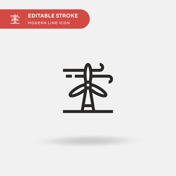 Wind Energy Simple vector icon. Illustration symbol design template for web mobile UI element. Perfect color modern pictogram on editable stroke. Wind Energy icons for your business project