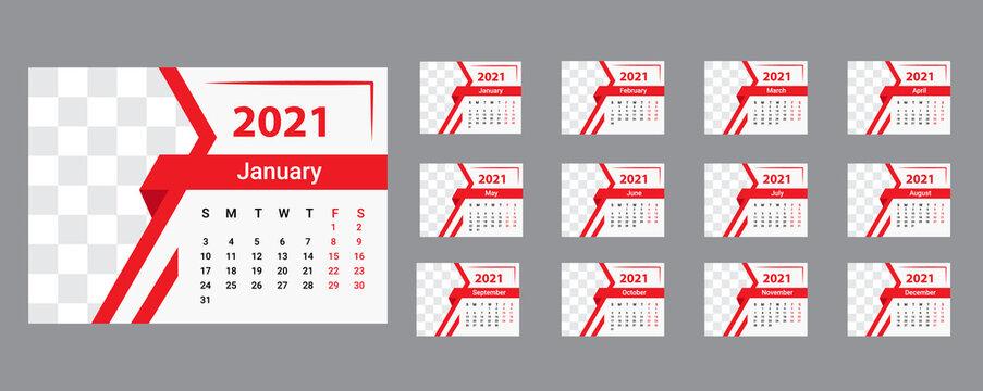 abstract creative 2021 desk calendar design set vector.