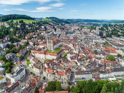 Stadt St. Gallen aus der Drohnenperspektive