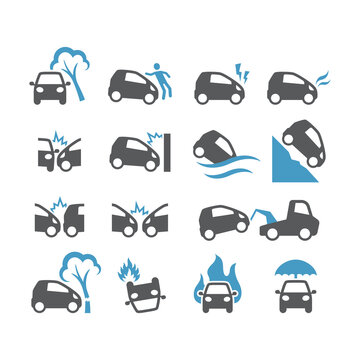 Car accident, insurance black vector icon set. Frontal collision, crush, flood, fire car accidents glyph icons.